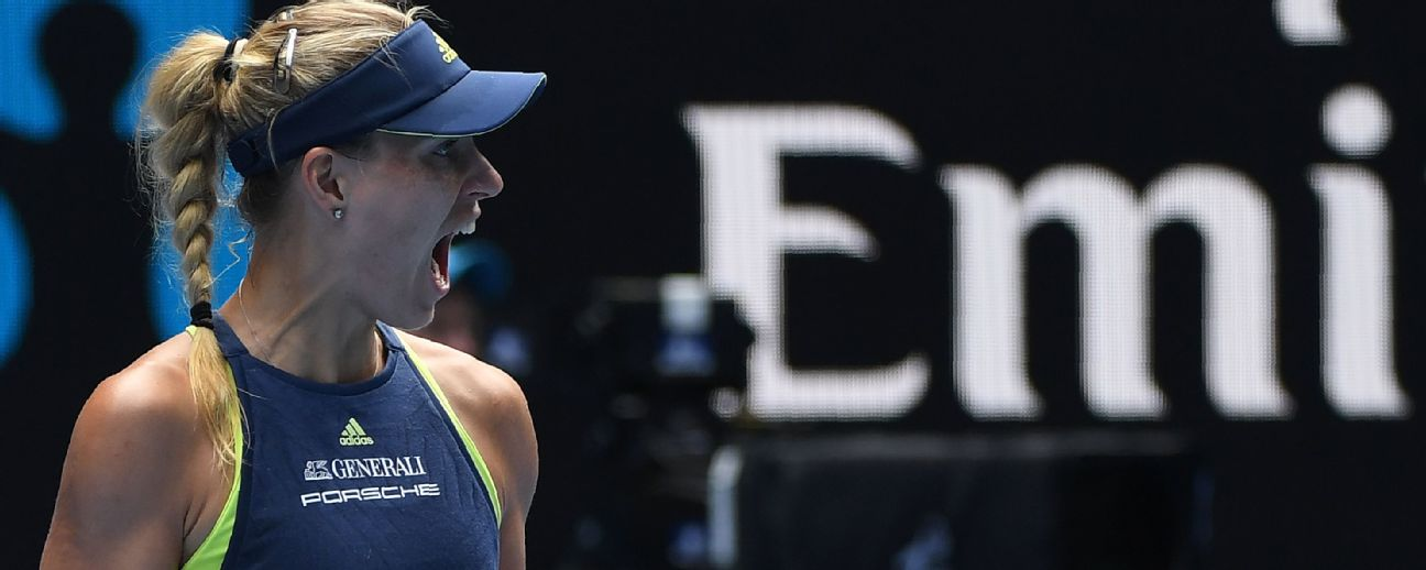 An utterly dominant display from Angelique Kerber helped the German book a place in the final four.