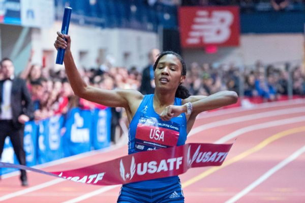 Ajee Wilson anchored the U.S. women to a world-record time of 8 minutes, 5.89 seconds in the 4x800-meter relay.