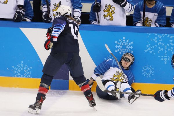Not much went right for Finland against the United States, including this check by Meghan Duggan on Noora Tulus.