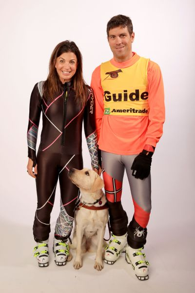 Danelle Umstead with her husband, Rob, and her current guide dog, Aziza.