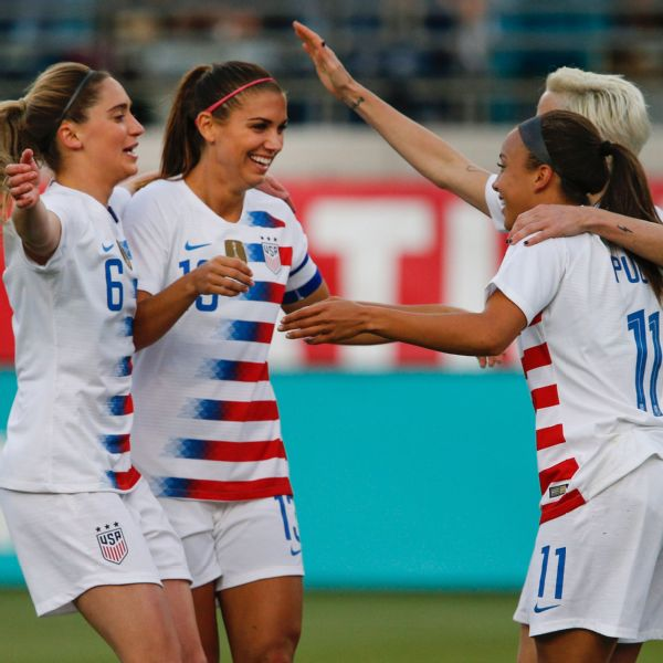 Alex Morgan scored twice as the USWNT beat Mexico on Thursday.