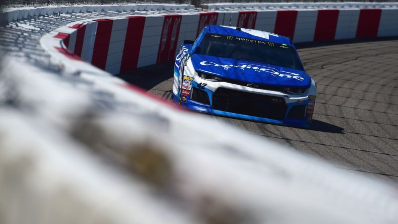 Kyle Larson, driver of the No. 42 Credit One Bank Chevrolet, practices for the Monster Energy NASCAR Cup Series Toyota Owners 400 at Richmond Raceway on Saturday in Richmond, Virginia.