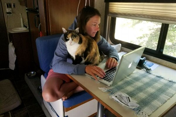 Campbell's flexible job allows her to get work done even in her RV.