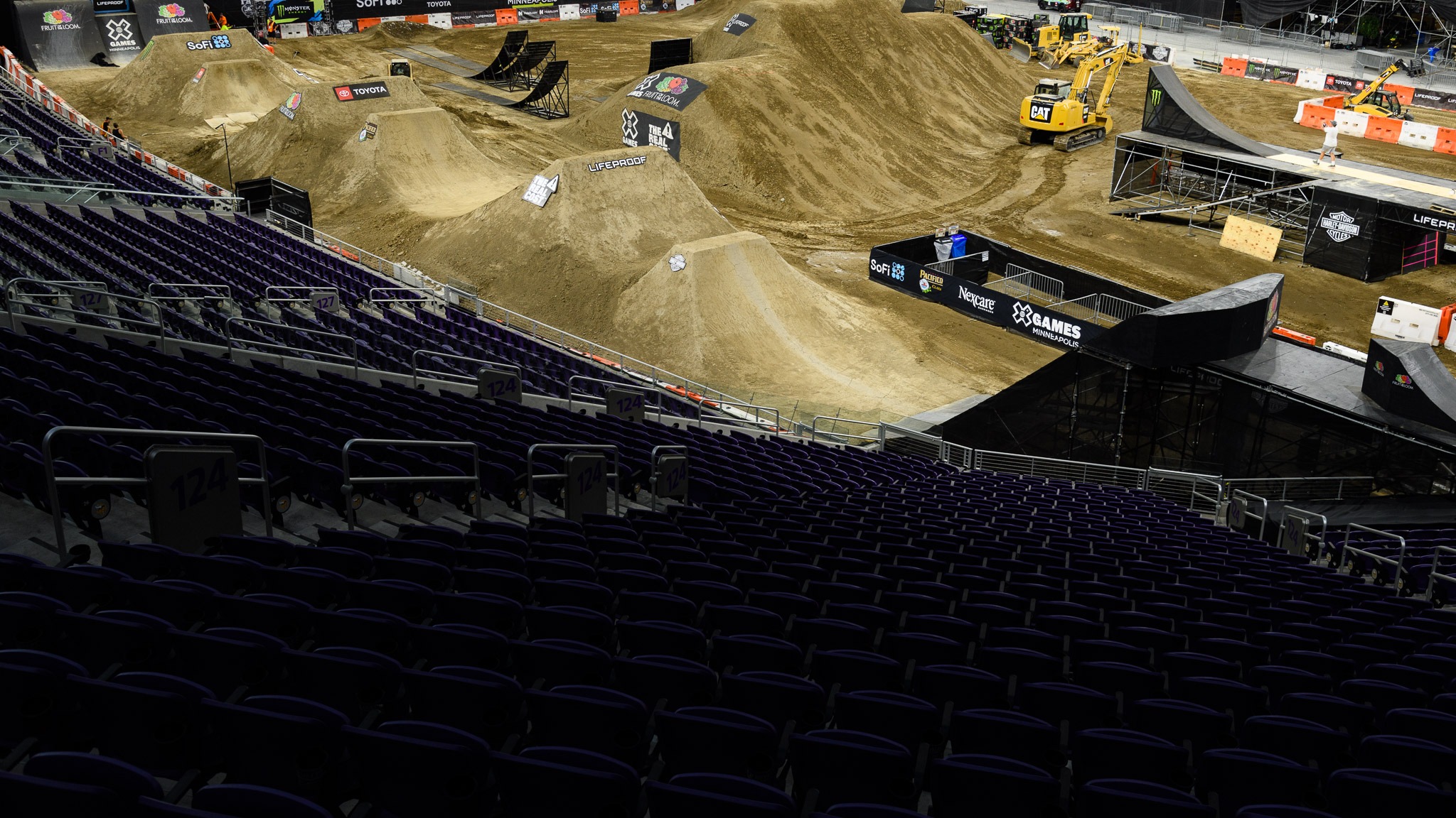 Here's a quick look at the BMX Dirt course, along with a few Moto X ramps before they were put in place for competition.