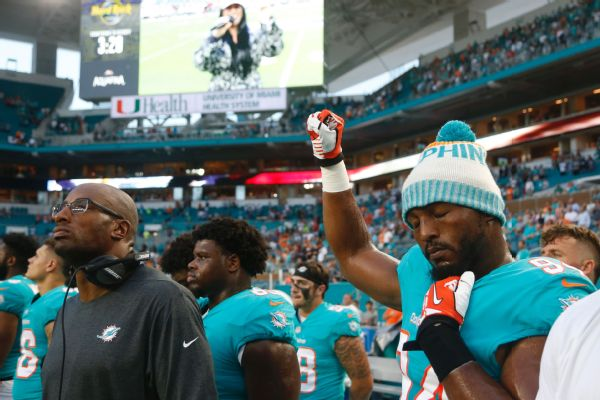 As a black man in this world I've got an obligation to raise awareness' Dolphins defensive end Robert Quinn said of protesting during the anthem. If no one wants to live in unity that's why we're in the situation we're