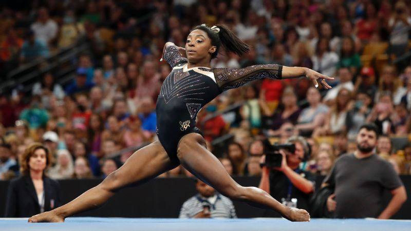 Simone Biles posted a top score of 60.1 during the opening night of the U.S. Championships on Friday.