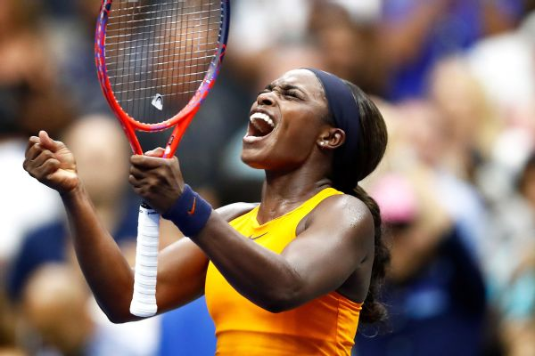 NEW YORK AUG 31:  Sloane Stephens of the United States celebrates victory during her women's singles third round match against Victoria Azarenka of Belarus on Day Five of the 2018 US Open at the USTA Billie Jean King National Tennis Center on August 31, 2