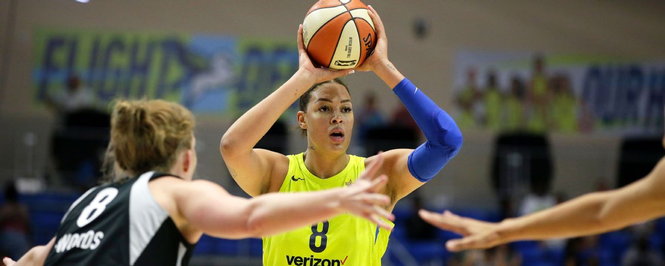 Liz Cambage of the Dallas Wings looks to pass the ball against the Las Vegas Aces.