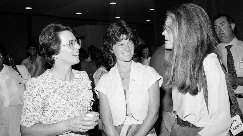 Billie Jean King, left, astronaut Dr. Sally Ride, center, and Ms. Magazine editor Gloria Steinem gather during a New York reception hosted by the Girls Club of America and Ms. Magazine on Aug. 10, 1983.