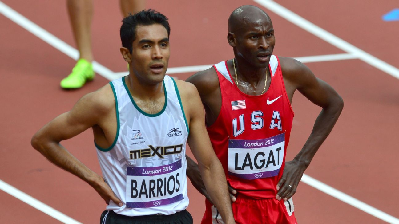 Mexico's Juan Luis Barrios (left) and American Bernard Lagat have competed against each other at the highest level, but that doesn't keep them from training together for the New York Marathon.