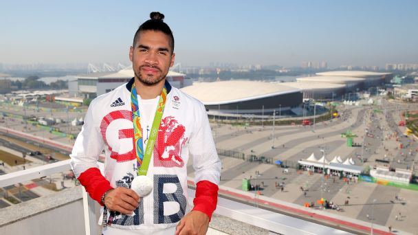 Louis Smith with a silver medal in front of the Olympic Park in Rio de Janeiro, Aug. 15 2016.