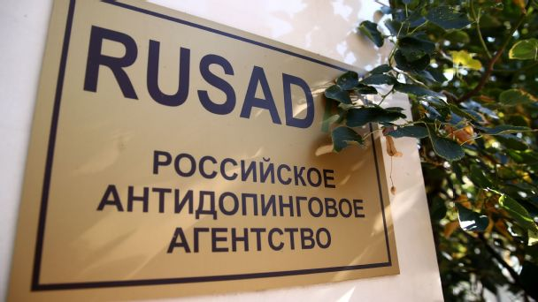 A sign at an entrance to the Russian Anti-Doping Agency (RUSADA); the executive committee of the World Anti-Doping Agency (WADA) previously lifted Russia's suspension over the doping scandal.