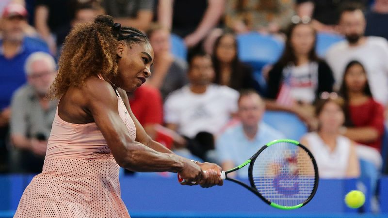 Serena Williams in action against Belinda Bencic at the Hopman Cup in Perth, Australia -- Jan. 1, 2019.