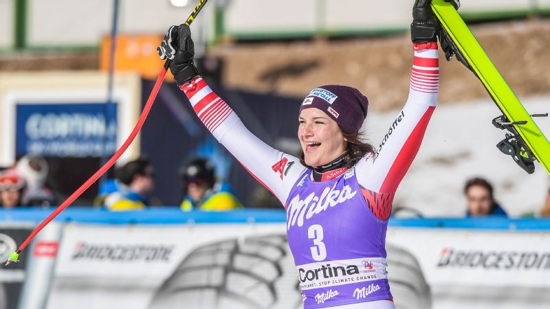 Austria's Ramona Siebenhofer celebrates after winning the Women's Downhill event of the FIS Alpine skiing World Cup in Cortina d'Ampezzo, Italy.
