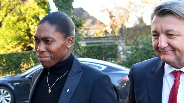 Caster Semenya (left) arrives at the Court of Arbitration for Sport in Lausanne, Switzerland with her lawyer Gregory Nott (right) -- Feb. 18, 2019.