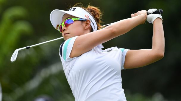 Jenny Shin of Republic of Korea plays the shot during the second round of the Honda LPGA Thailand