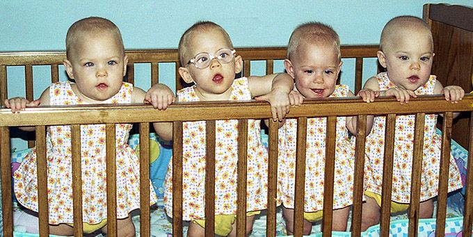 (From left) Kasey, Mallory, Jordan, Holly were the first set of quintuplets born in Kansas. Their brother, Evan, died 17 days after he was born.