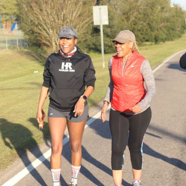 Doretha Walker (right) with Alison Desir during the race.