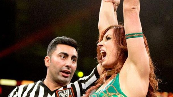 Becky Lynch celebrates after her NXT TV debut in June 2014.