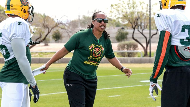 Jennifer King worked as an assistant wide receivers coach for the Arizona Hotshots before AAF shuttered.