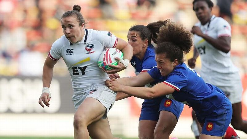 U.S. rugby player Kristi Kirshe, left, has played the sport for less than a year and a half, and she is quickly becoming a bright spot for the U.S. national team.