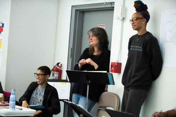 From left, Lydia R. Diamond, Pam MacKinnon and Camille A. Brown in rehearsals for Toni Stone.