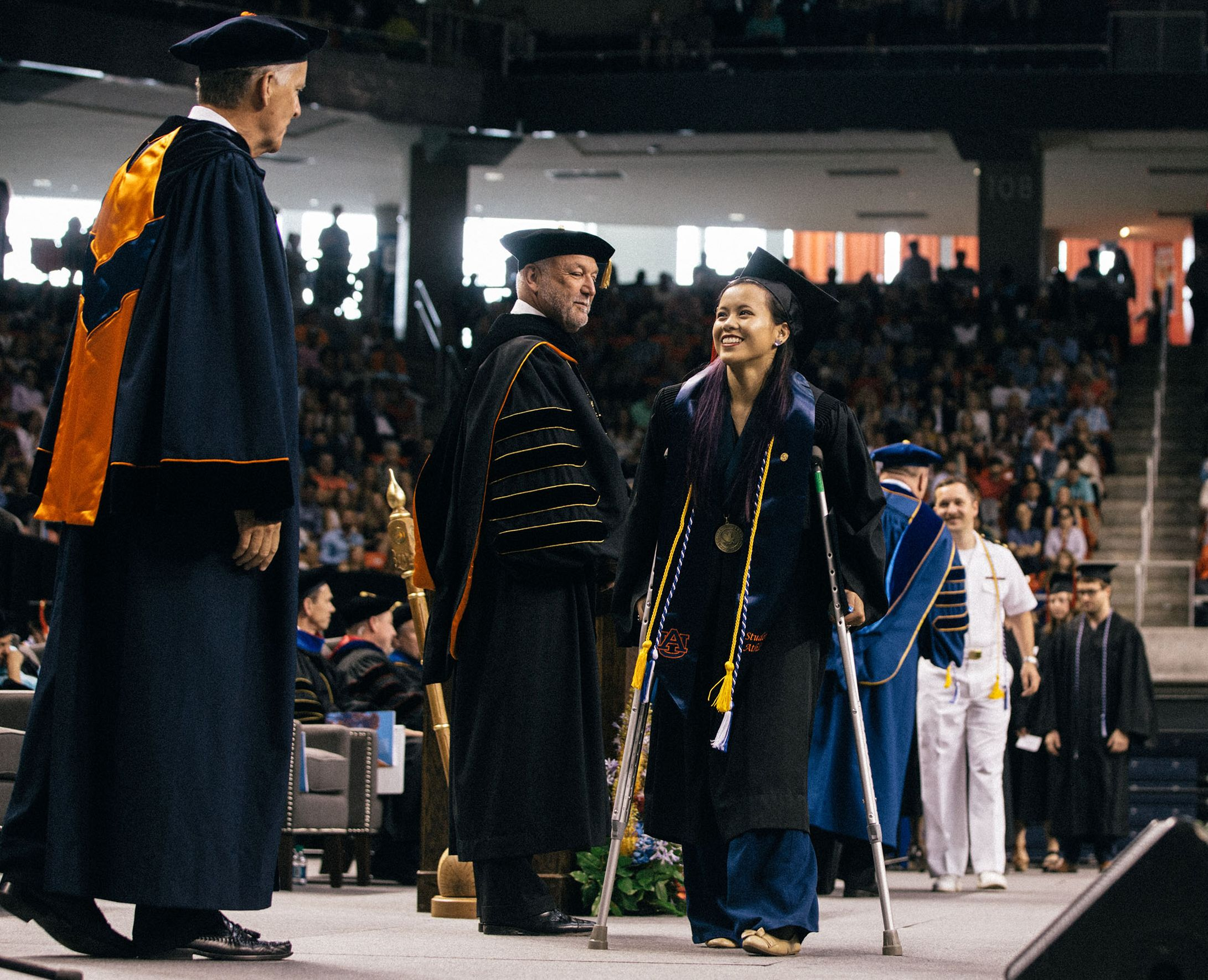 Four weeks after her injury, Sam Cerio walked at graduation with a pair of crutches. Her goal after that: walk unassisted down the aisle at her wedding.