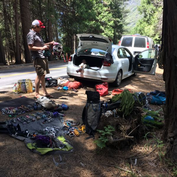 On June 12, the three climbers reached Yosemite National Park at the crack of dawn and spread out their gear.