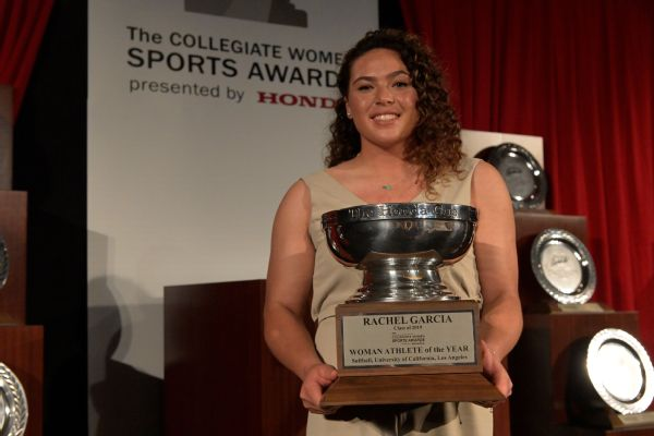 UCLA softball pitcher Rachel Garcia, the Women's College World Series most outstanding player, was presented with the Honda Cup on Monday as the Collegiate Woman Athlete of the Year.