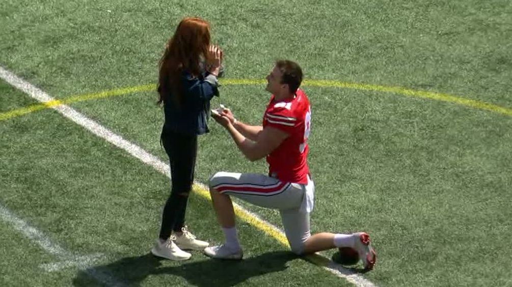 Spring bling: OSU punter gives on-field proposal