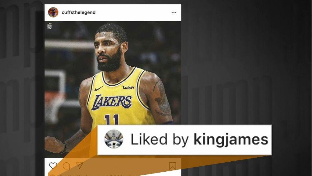 8f280e5d45c LeBron likes an IG post of Kyrie in a Lakers jersey - ESPN Video