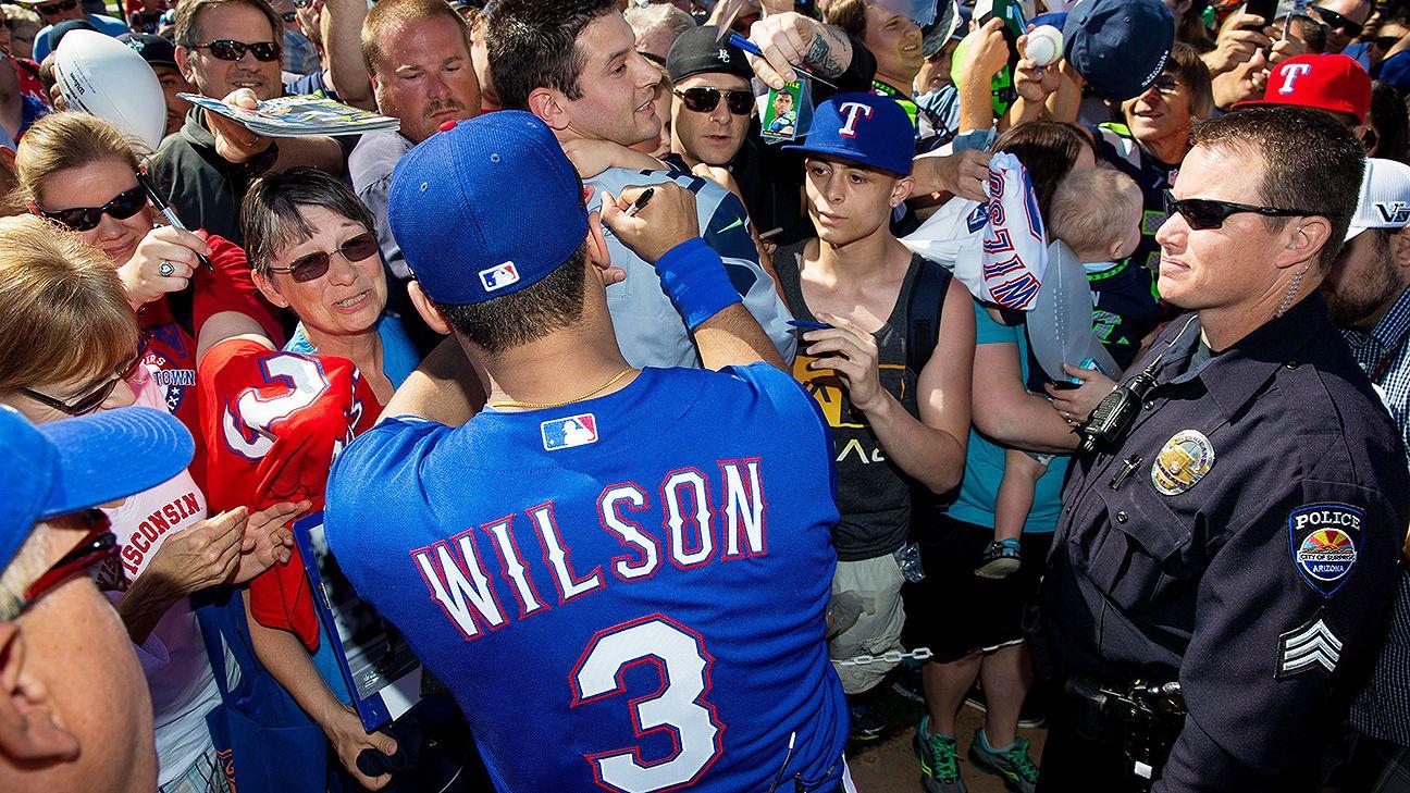 new product 9aeb9 de05b Russell Wilson's Texas Rangers jersey a hot seller - Dallas ...