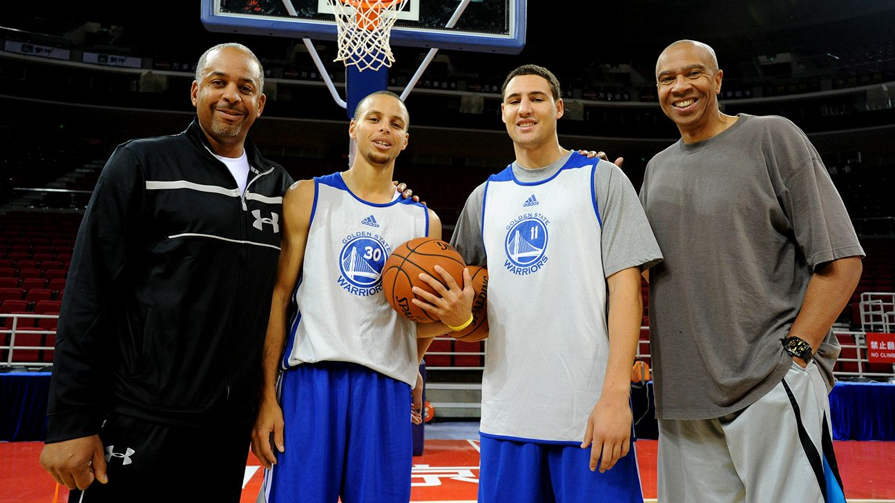 e47e49e6e85 NBA Playoffs 2015  The Splash Fathers Dell Curry and Mychal Thompson