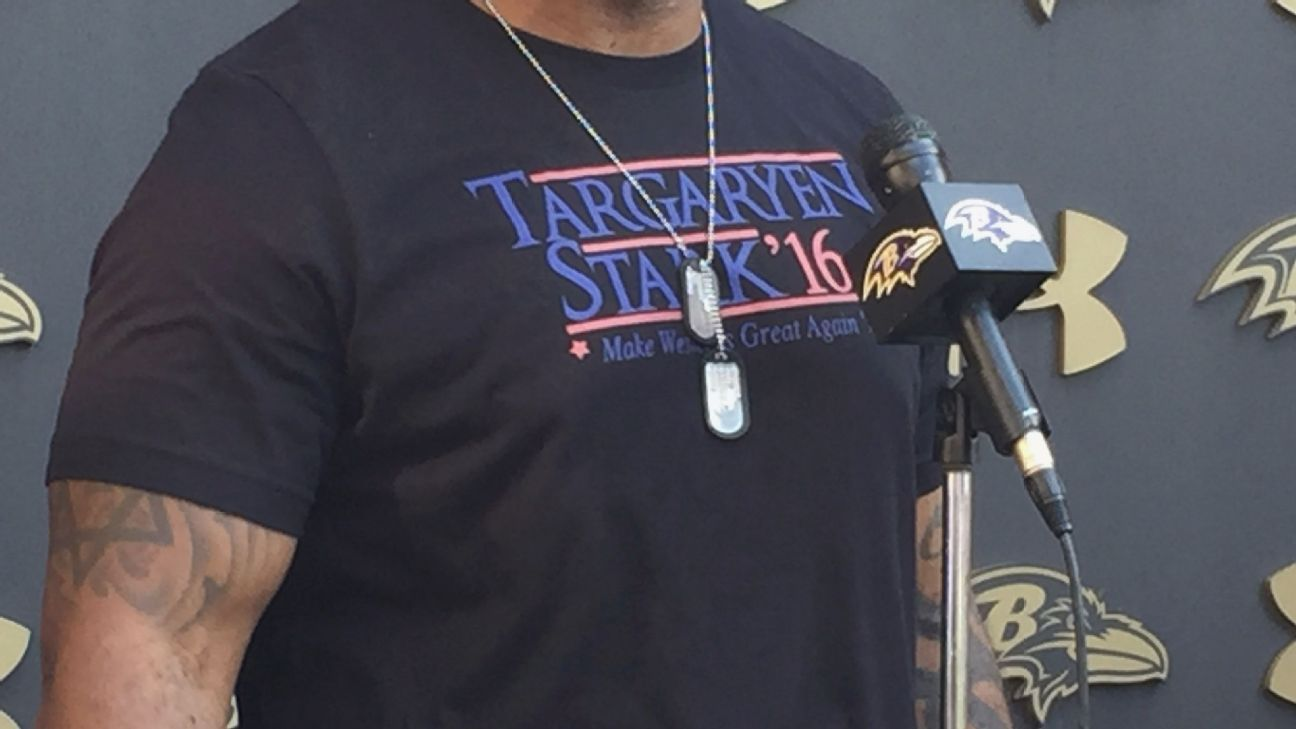 best website 4d43e d1c86 Terrell Suggs rocks 'Game of Thrones' t-shirt at training ...