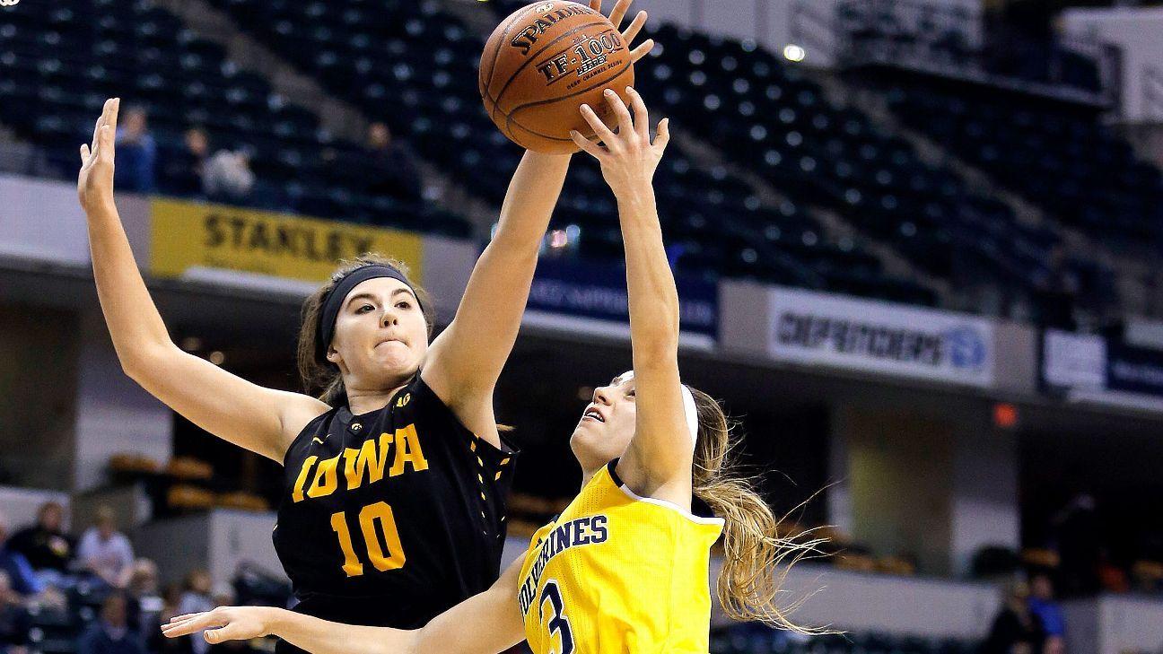 Iowa Hawkeyes junior Megan Gustafson plays for older sister Emily
