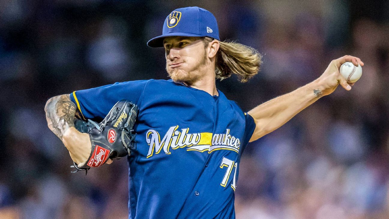 81d68703e MLB -- Milwaukee Brewers  Josh Hader trouble for Chicago Cubs