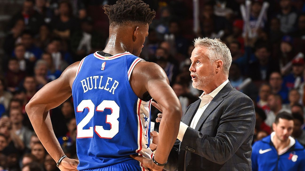 fcb3fe07f Jimmy Butler challenging Philadelphia 76ers coach Brett Brown about  offensive role