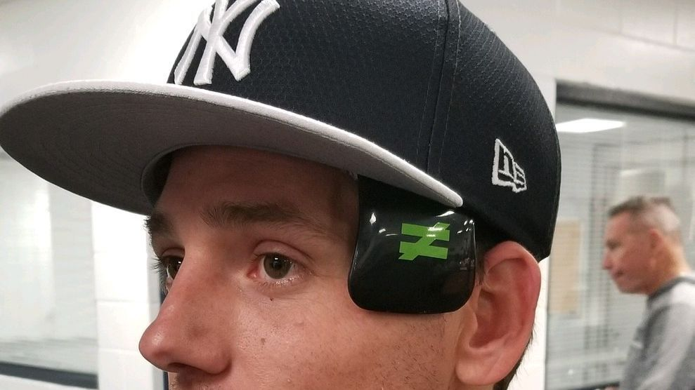 Danny Farquhar wears protective cap after brain surgery
