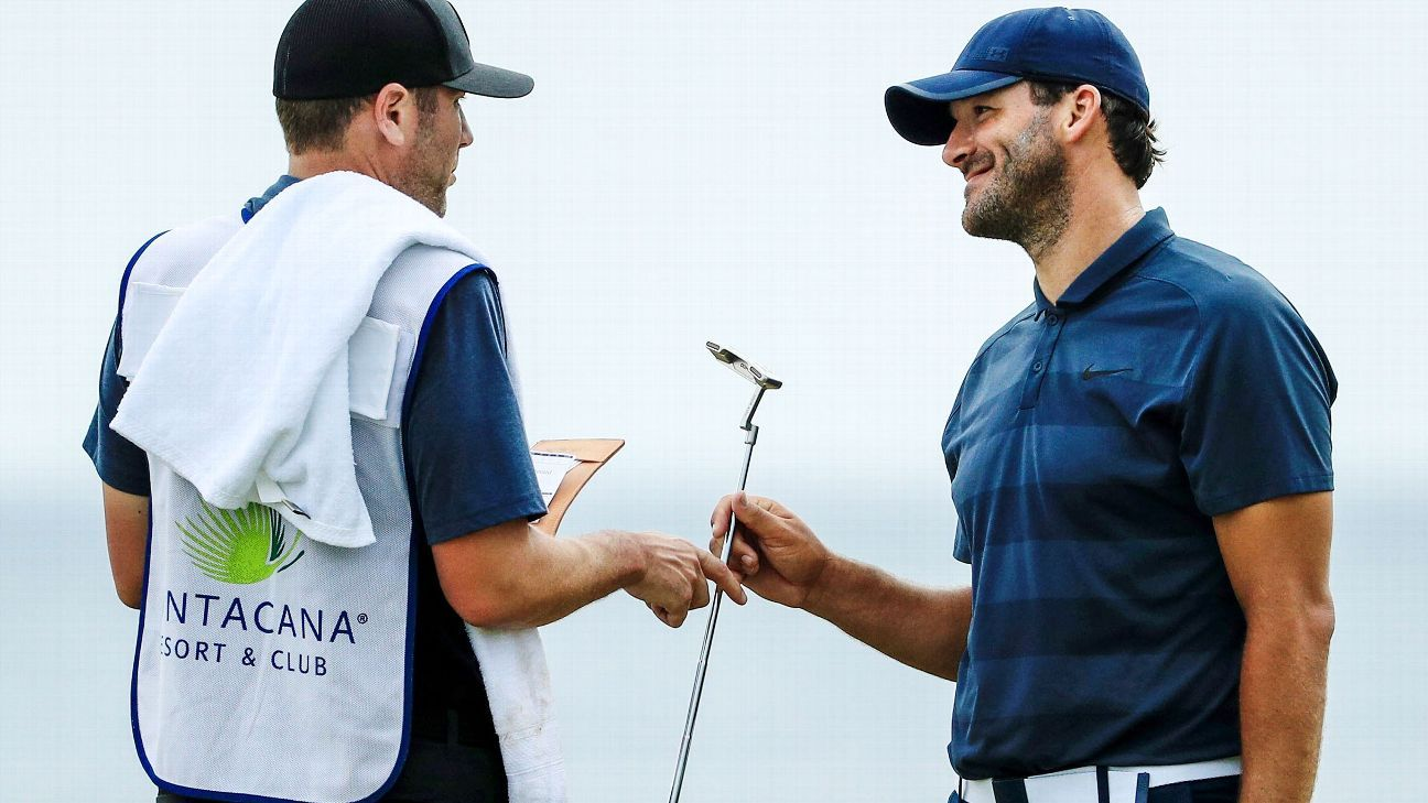 Former Cowboys QB Tony Romo is playing closer to home this week at the AT&T Byron Nelson event, and he's serious about it.