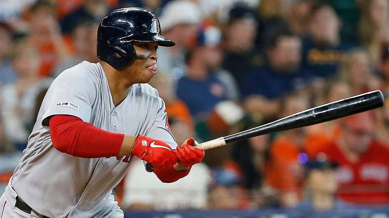 Devers makes history with 6-hit, 4-double game