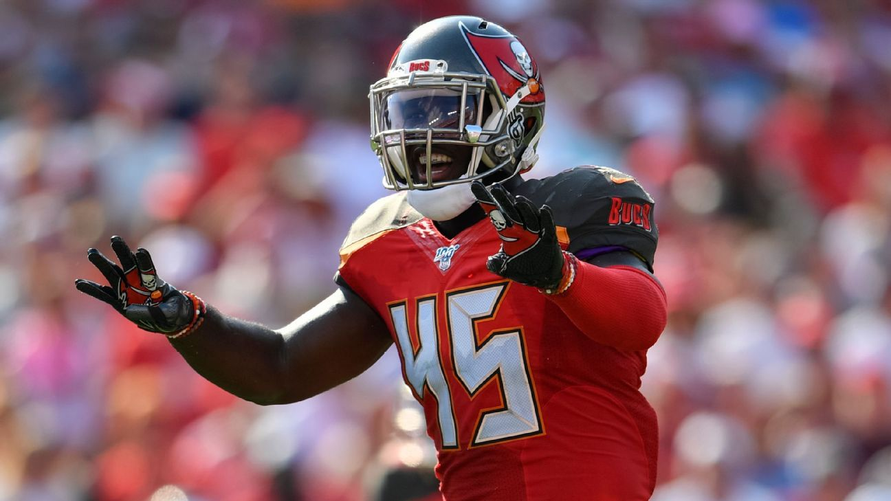 Bucs LB White (knee) out for Giants game