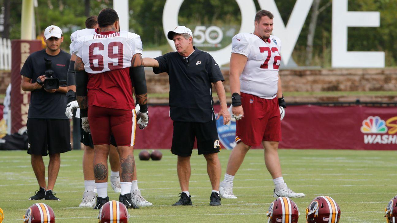 Interim coach Bill Callahan makes presence felt during first Redskins' practice