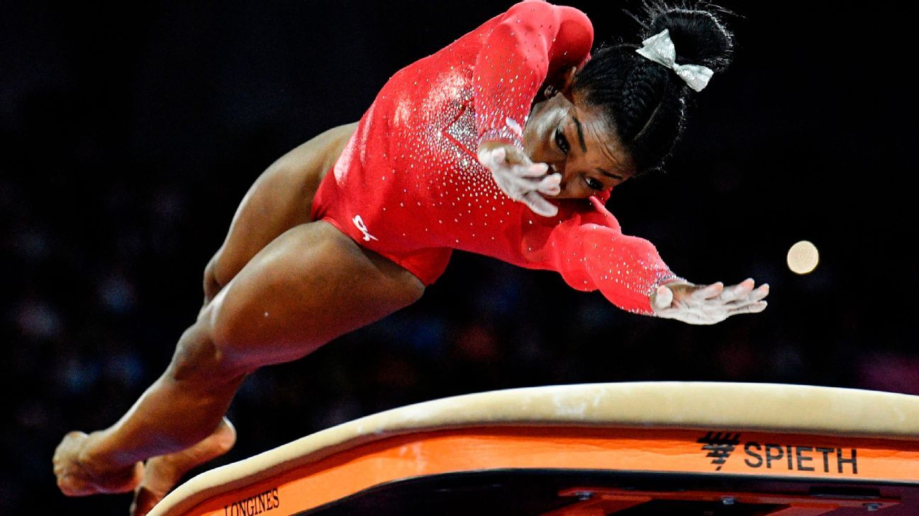 Simone Biles wins vault, ties mark for most world medals