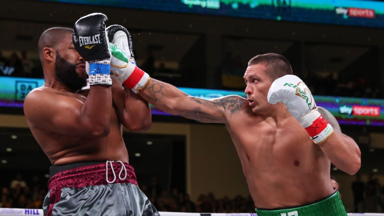 Oleksandr Usyk scores TKO win vs. Chazz Witherspoon in heavyweight debut