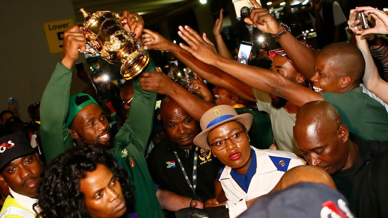 Rugby World Cup-winning Springboks return home to heroes' welcome