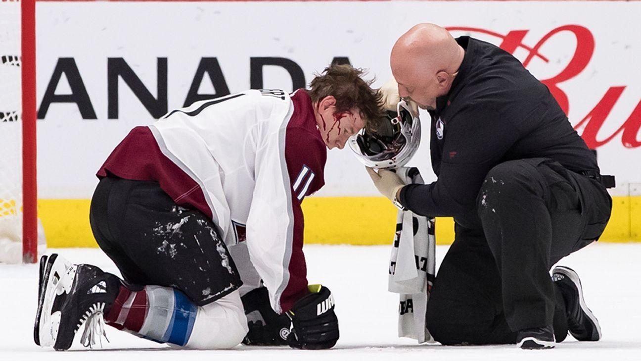 Avalanche upset play continued after Matt Calvert hit in head by puck