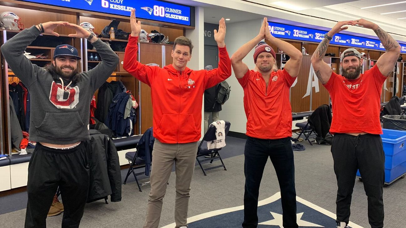 New England Patriots' Tom Brady and Chase Winovich pay off Ohio State rivalry bet