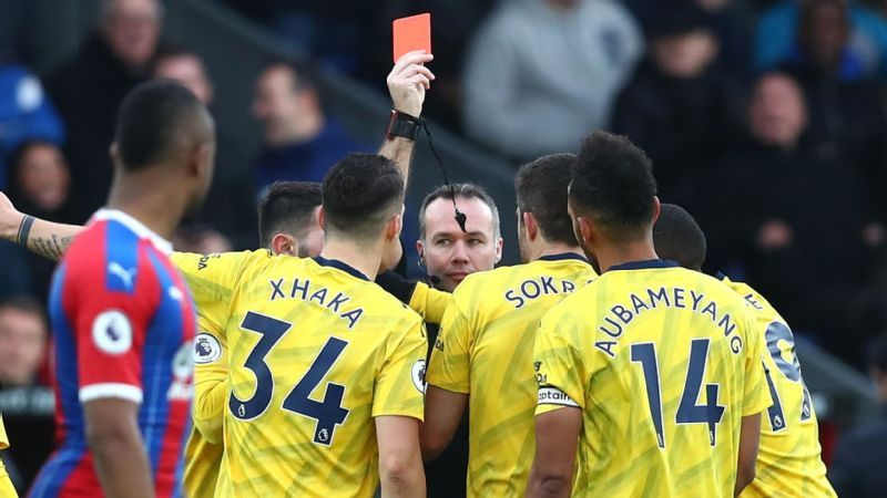 Aubameyang scores opener, sent off via VAR in Arsenal draw at Crystal Palace