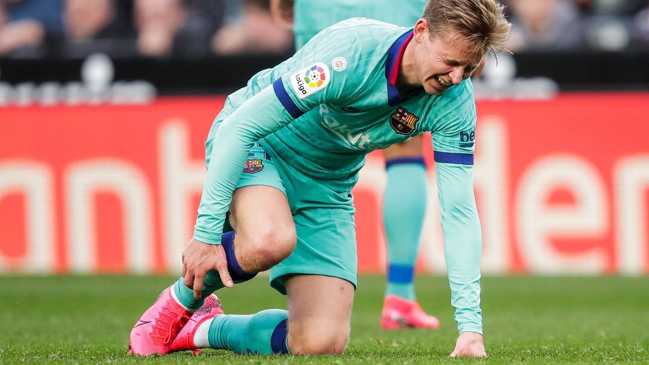 Barcelona's Frenkie De Jong suffers calf injury, out of Athletic clash