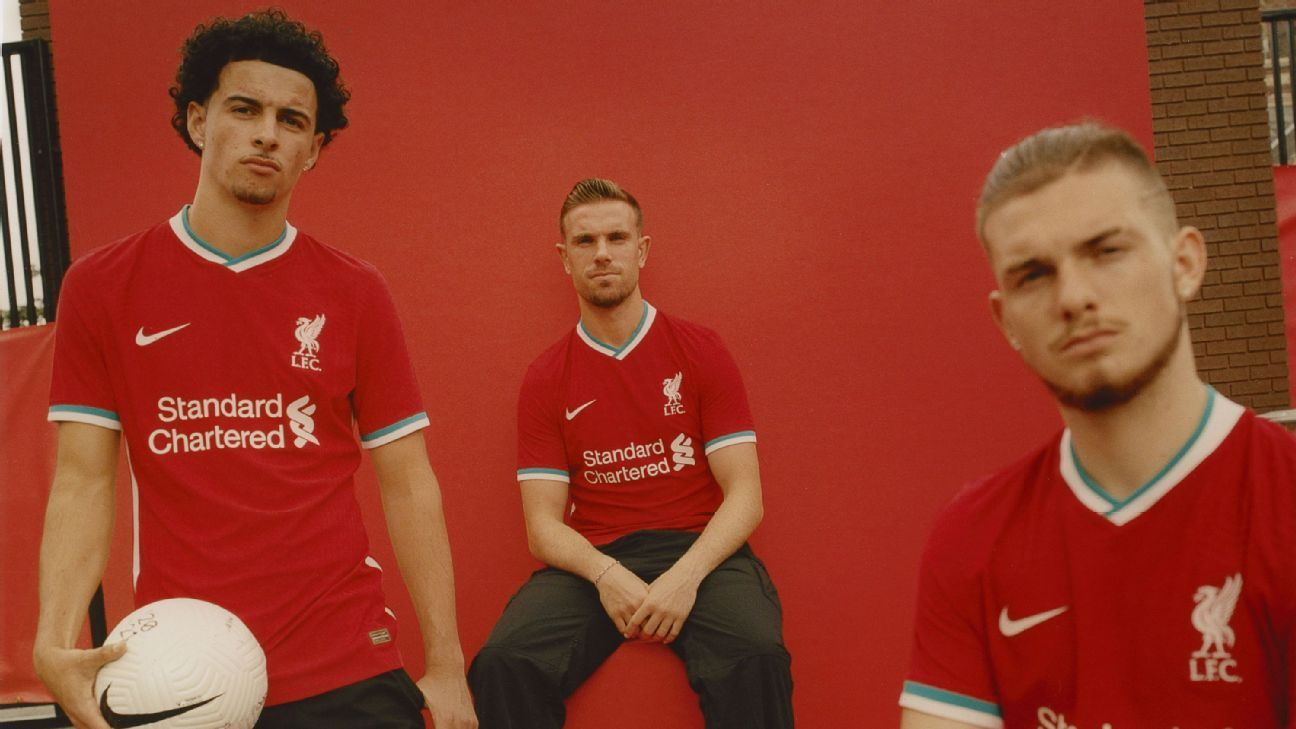 liverpool s champions reveal teal and white trim on new 2020 21 home kit white trim on new 2020 21 home kit